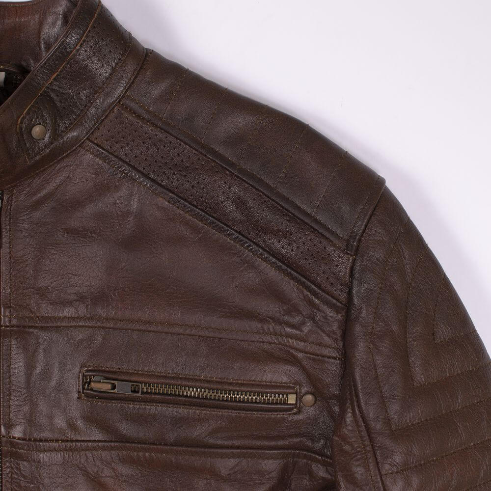 Shoulder and Zip Detail of Brown Sheepskin Leather Racer Jacket