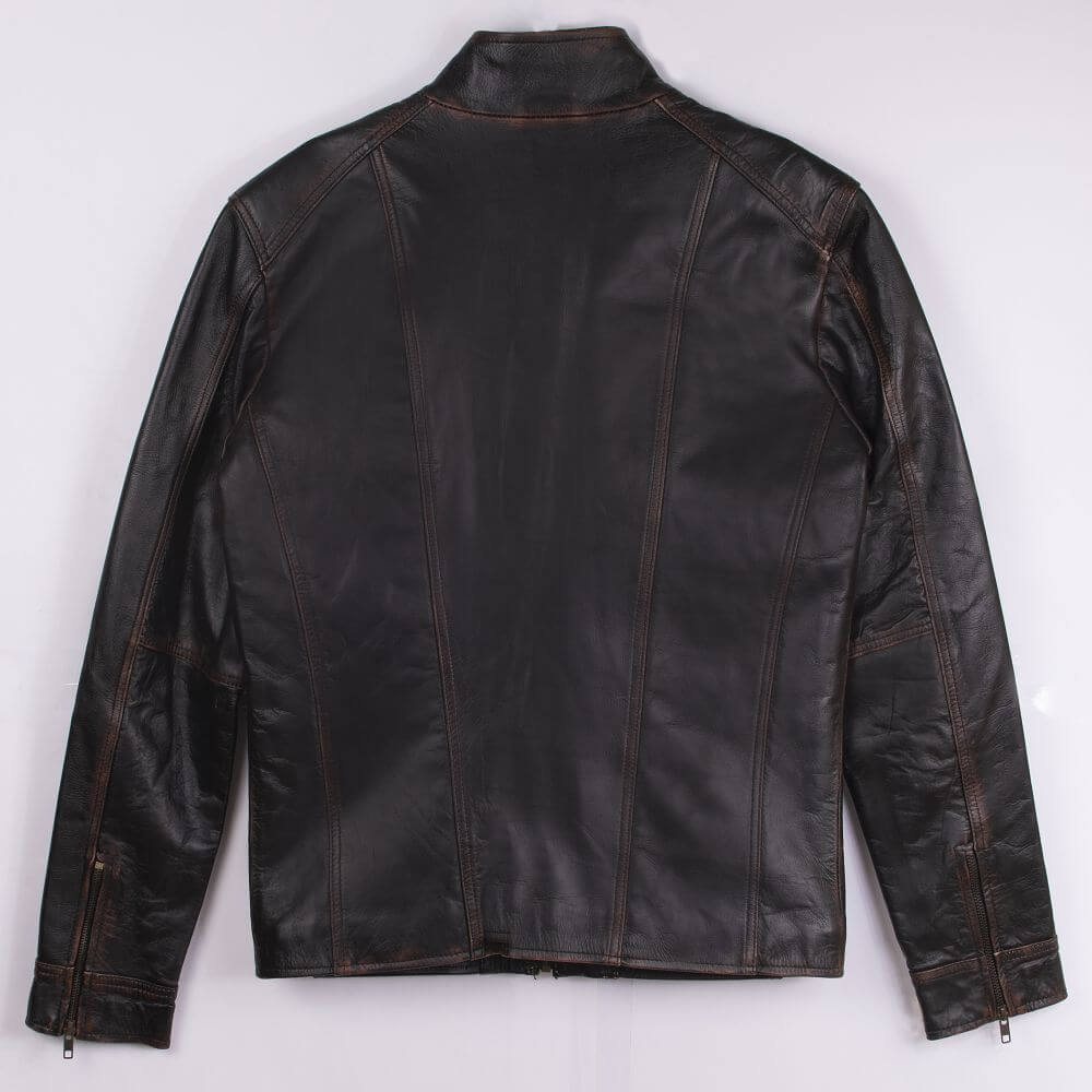 Back of Black Slim Fit Leather Jacket with High Collar