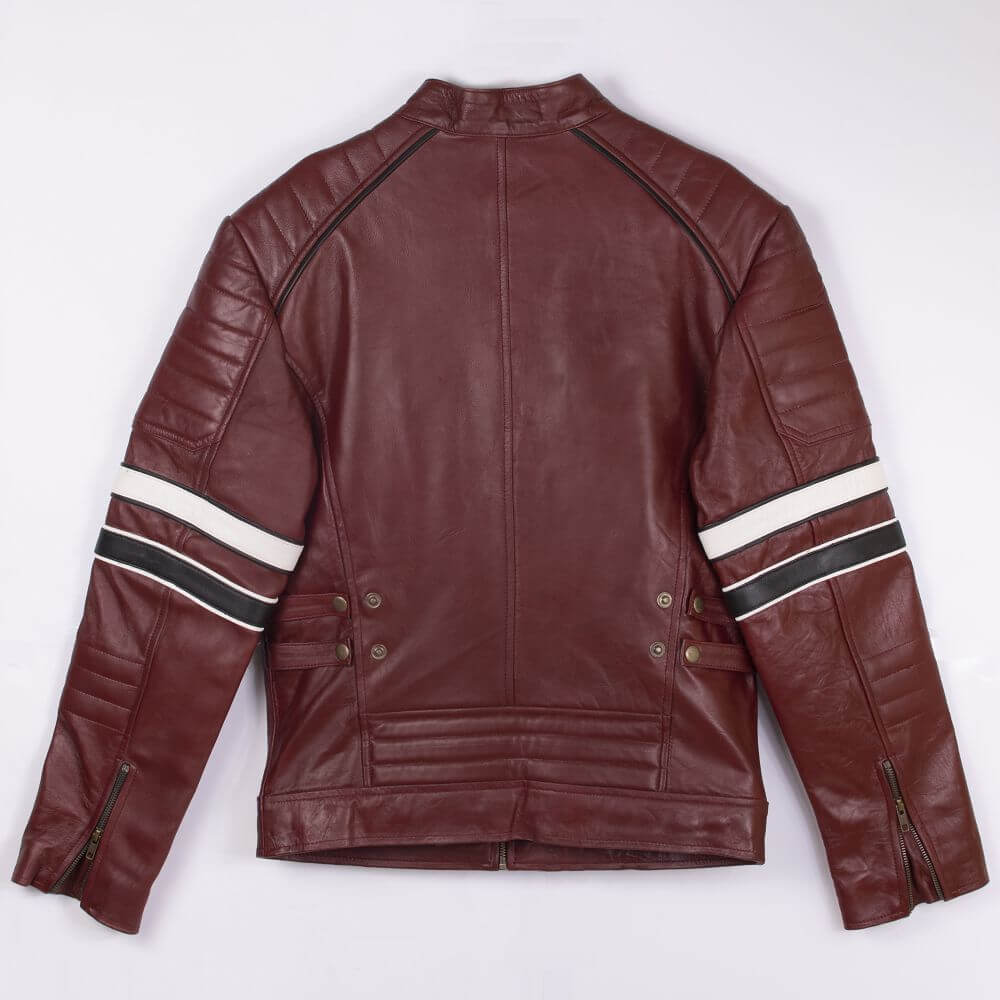 Back of Maroon Café Racer Jacket with Contrast Stripe Detail