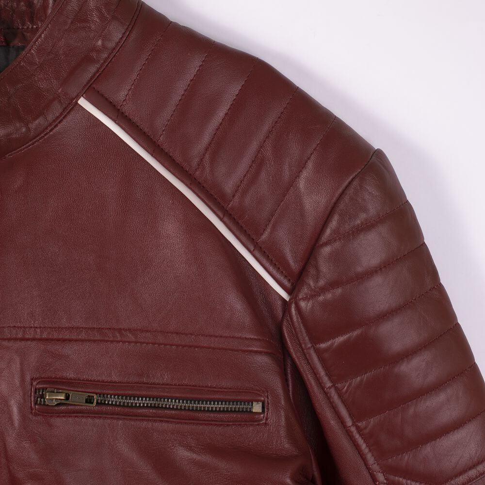 Shoulder and Chest Pocket Zipper Detail Maroon Café Racer Jacket with Contrast Stripe Detail