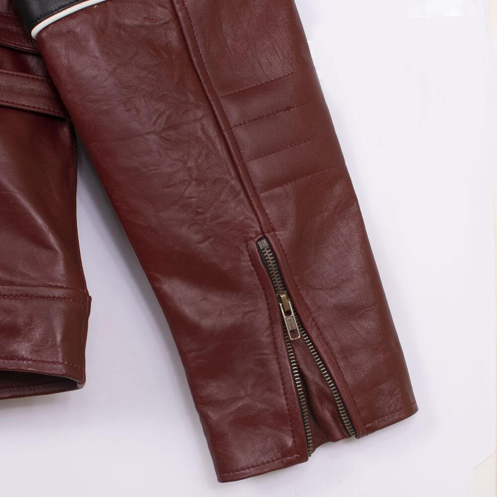 Cuff with Zipper Detail Maroon Café Racer Jacket with Contrast Stripe Detail