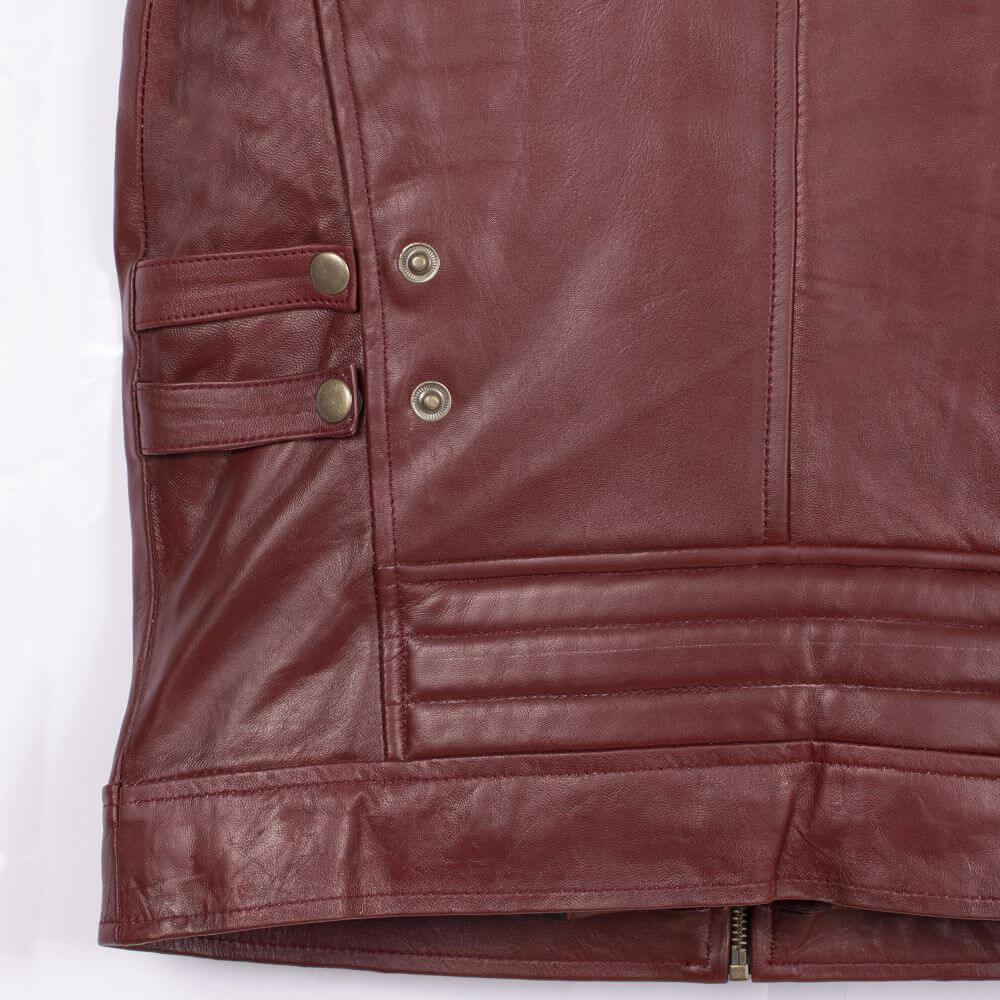 Back Hem Detail Maroon Café Racer Jacket with Contrast Stripe Detail