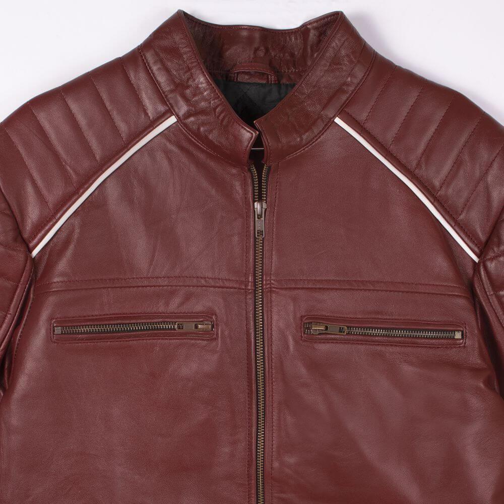 Front Zipper Detail Maroon Café Racer Jacket with Contrast Stripe Detail