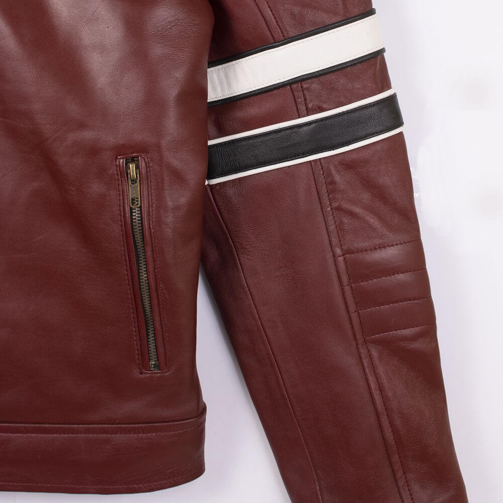 Side Pocket with Zipper Detail Maroon Café Racer Jacket with Contrast Stripe Detail