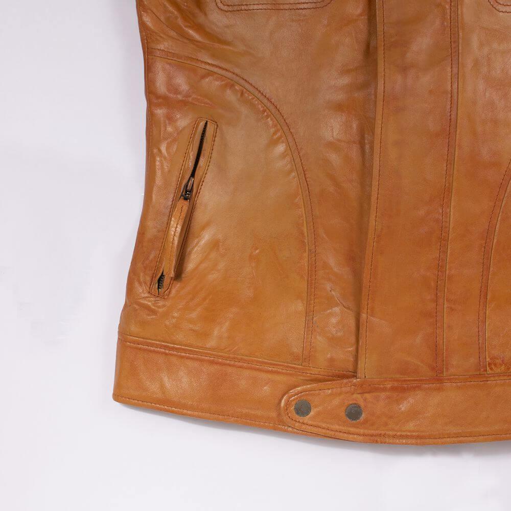 Front Hem and Side Pocket Zipper Detail of Tan Leather Field Jacket