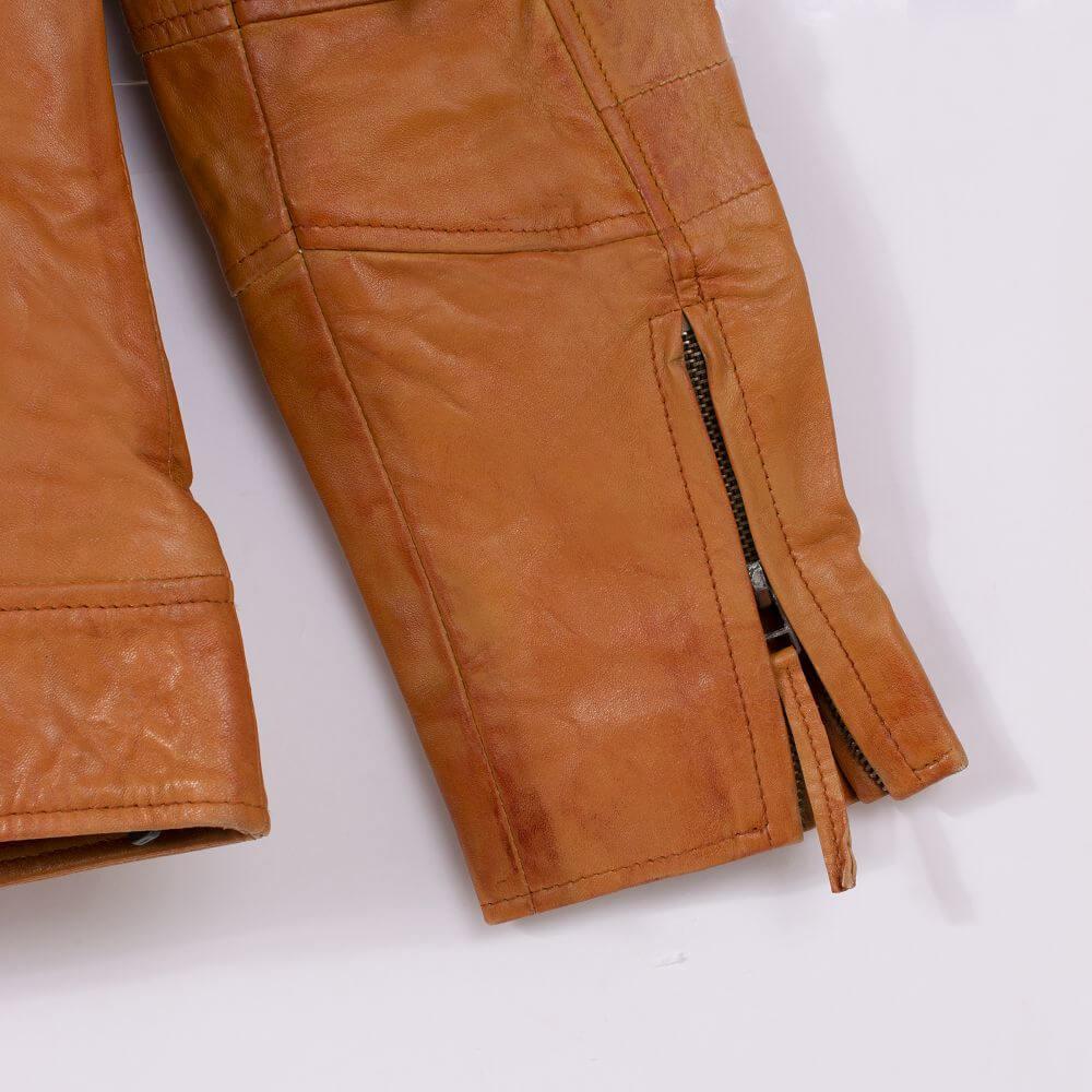 Cuff Zipper Detail of Tan Leather Field Jacket