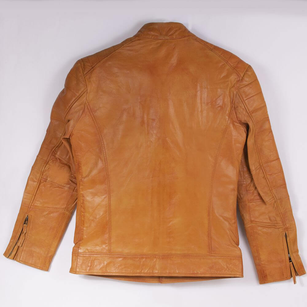 Back of Tan Leather Field Jacket