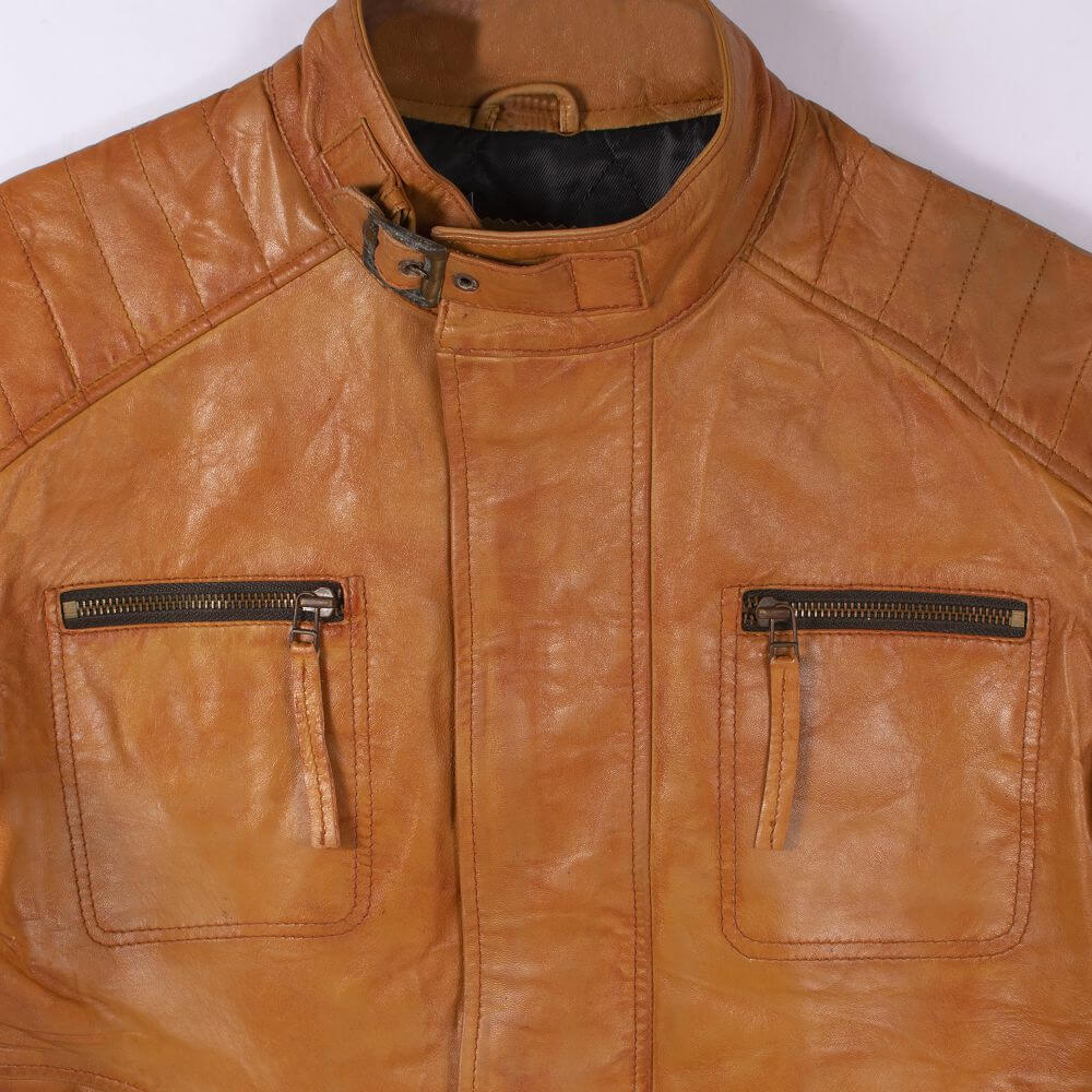 Collar and Chest Zipper Pocket Detail of Tan Leather Field Jacket