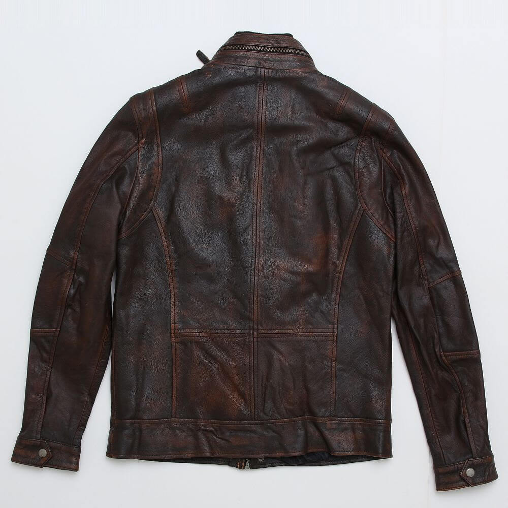 Back of Brown Field Jacket with Double Collar