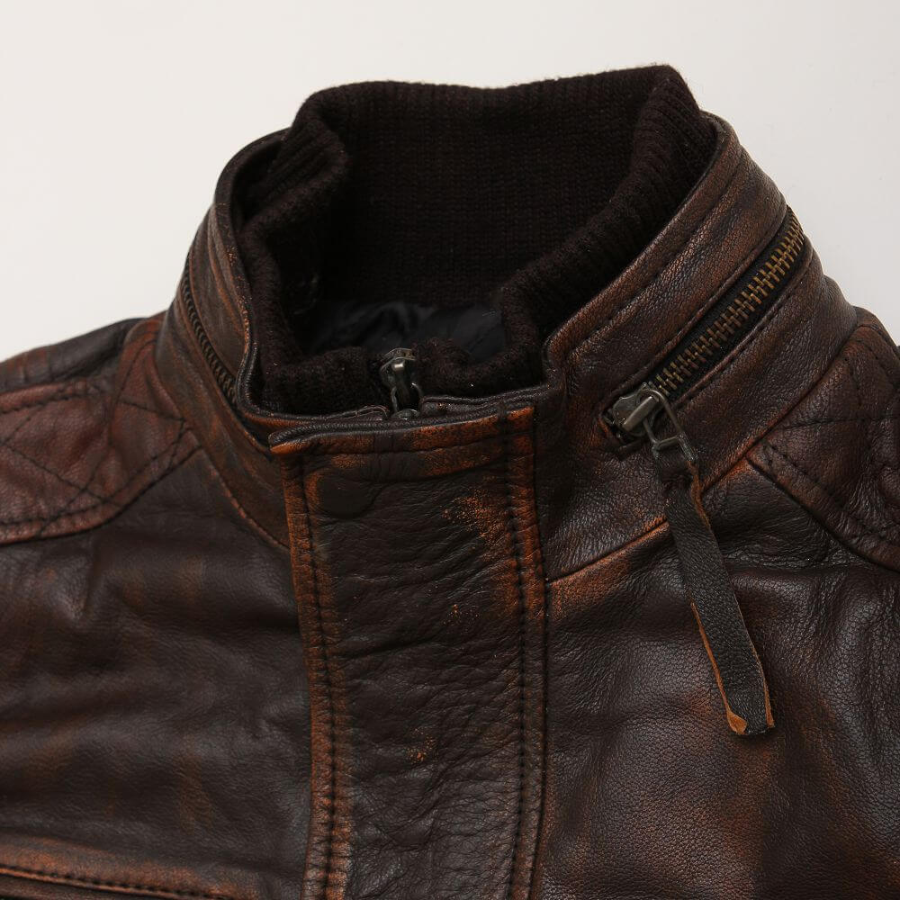 Collar Detail of Brown Field Jacket with Double Collar