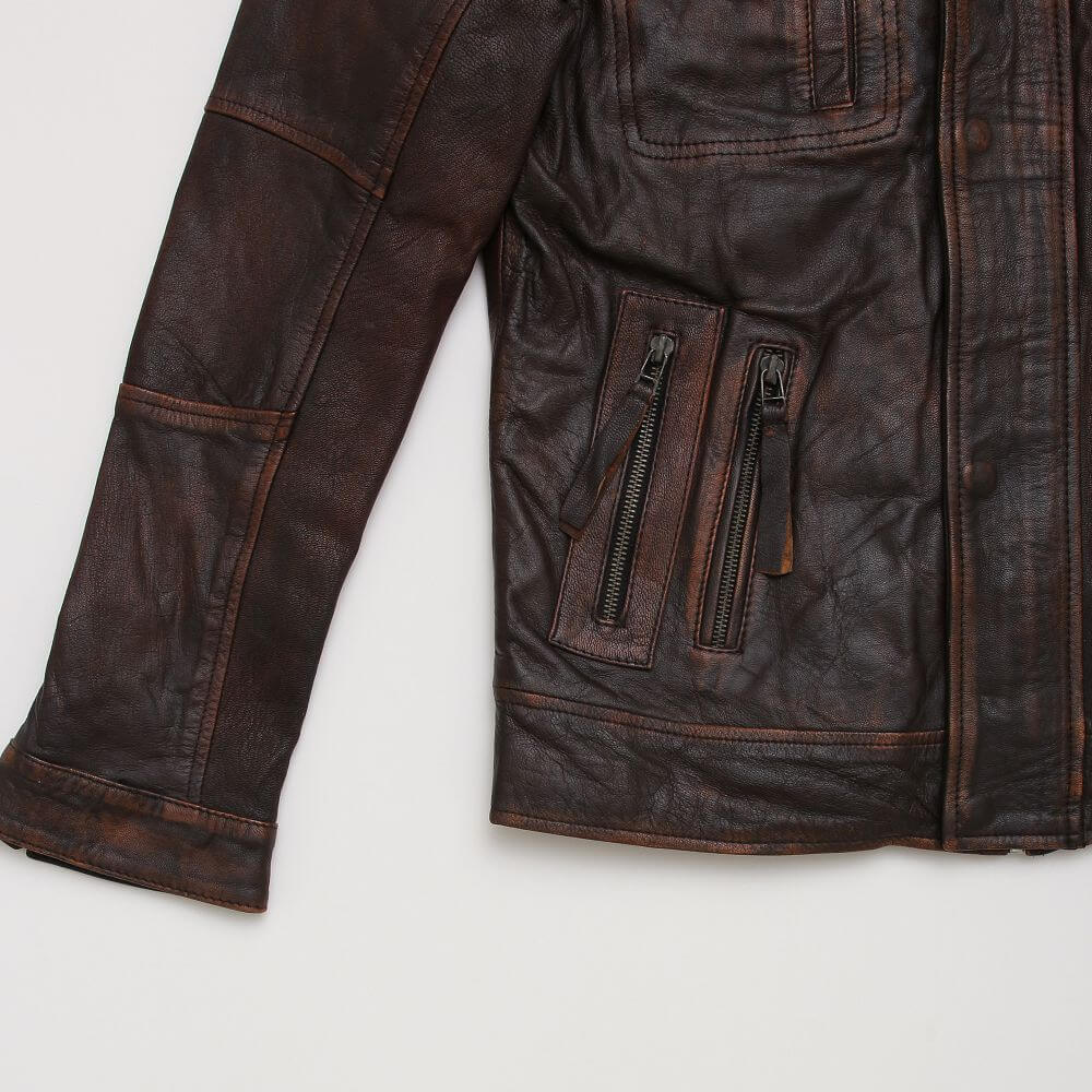 Cuff and Side Pocket with Zipper Detail of Brown Field Jacket with Double Collar