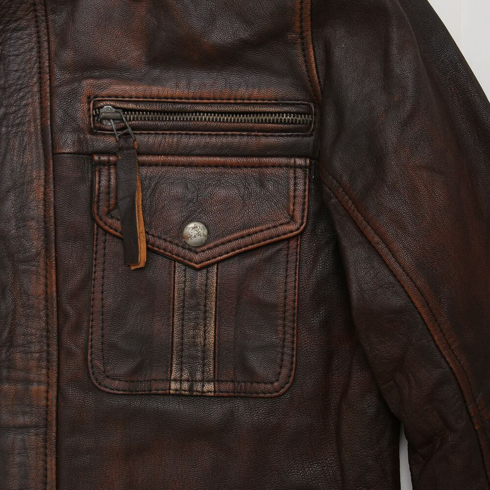 Chest Zipper and Button Flap Detail of Brown Field Jacket with Double Collar