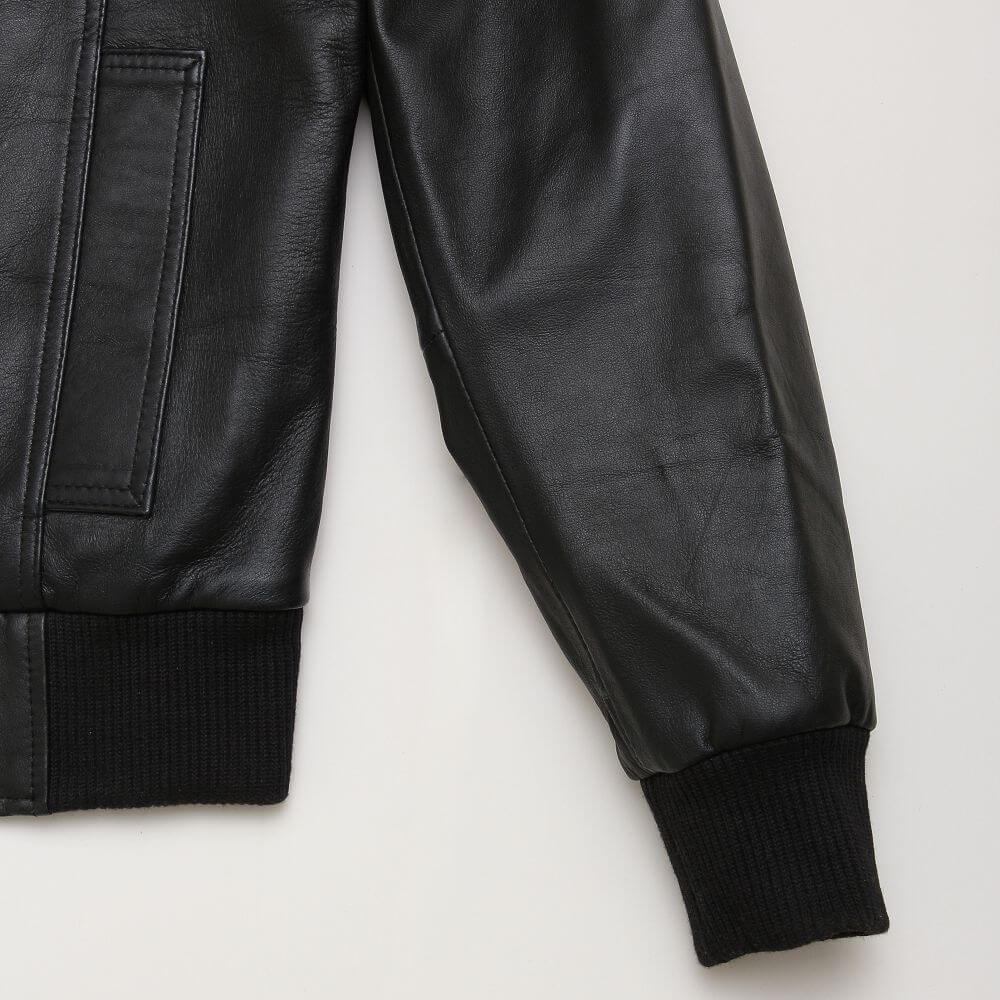 Side Pocket and Cuff Detail of Black Sheepskin Leather Flight Jacket