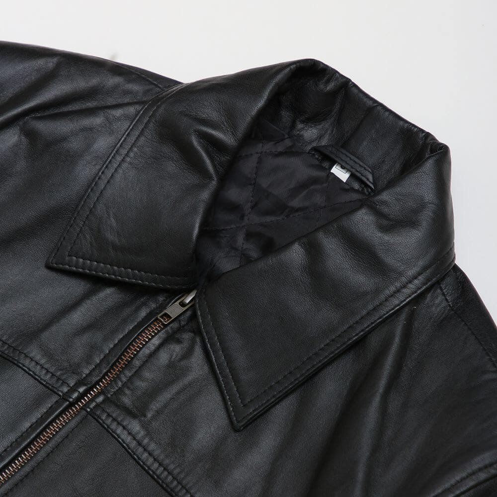 Collar Detail of Black Sheepskin Leather Flight Jacket