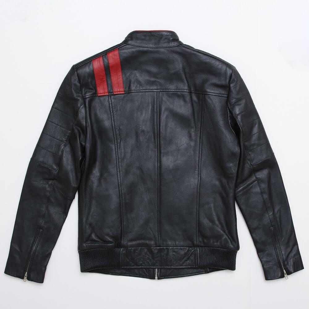 Back of Black Leather Racer Jacket with Contrast Stripe Detail