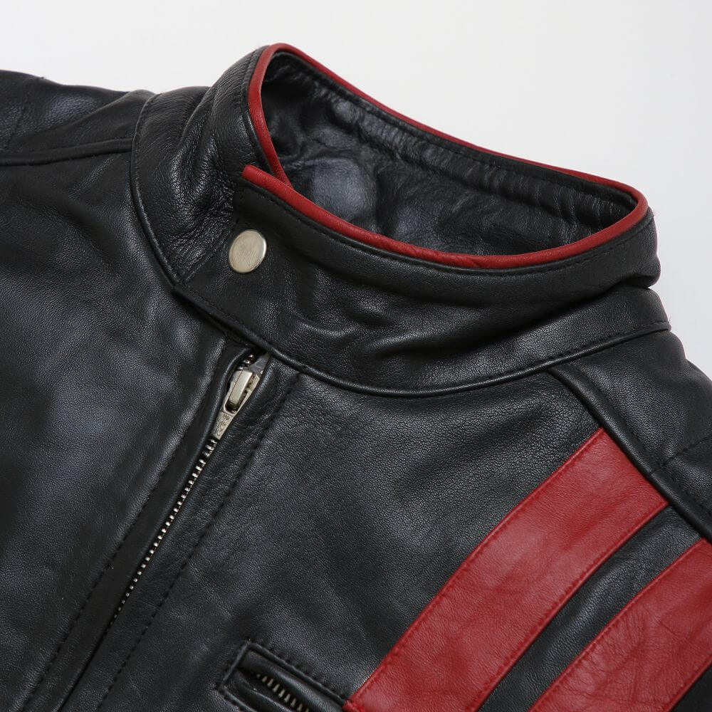 Collar Button and Front Zipper Detail of Black Leather Racer Jacket with Contrast Stripe Detail