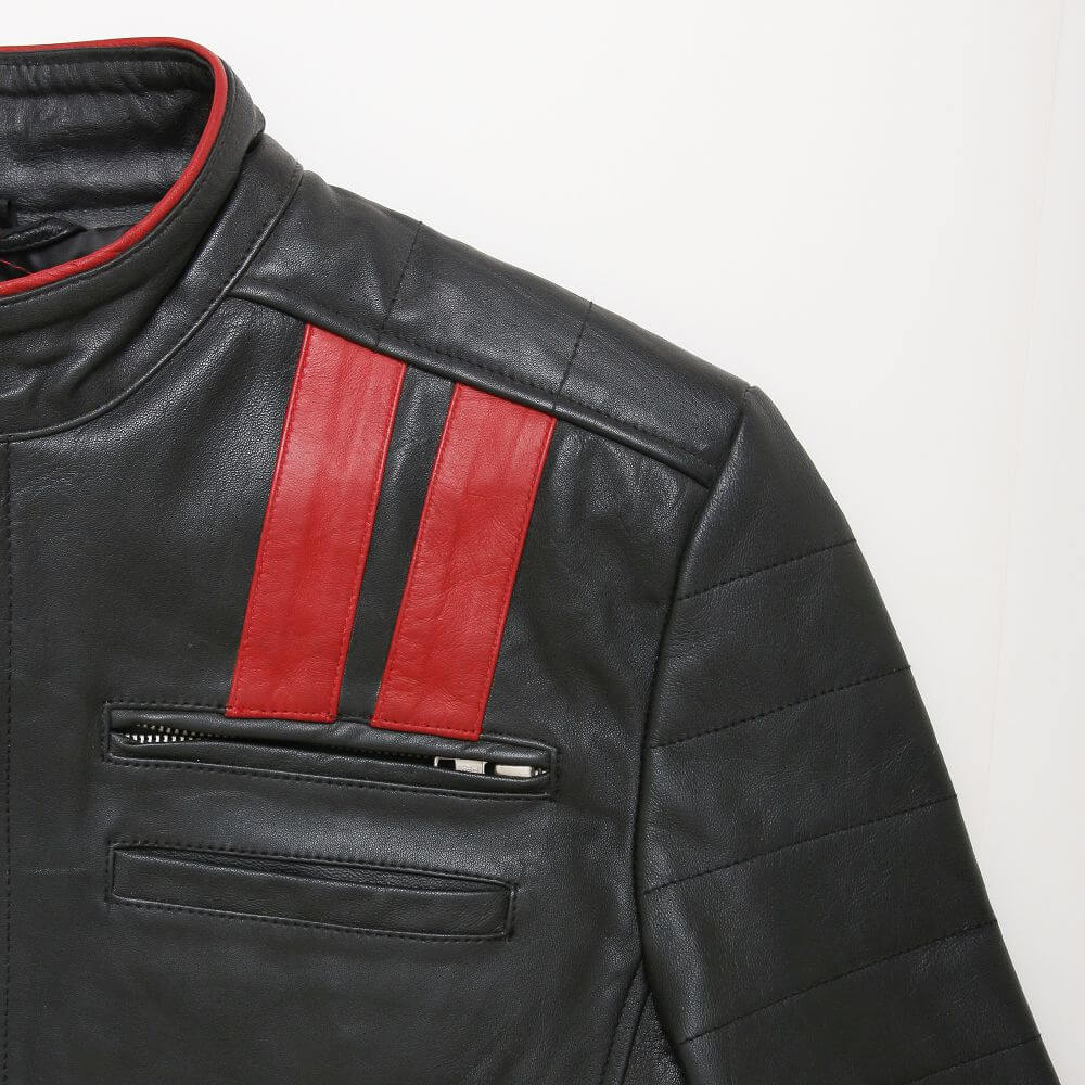 Red Shoulder Double Stripe Detail of Black Leather Racer Jacket with Contrast Stripe Detail