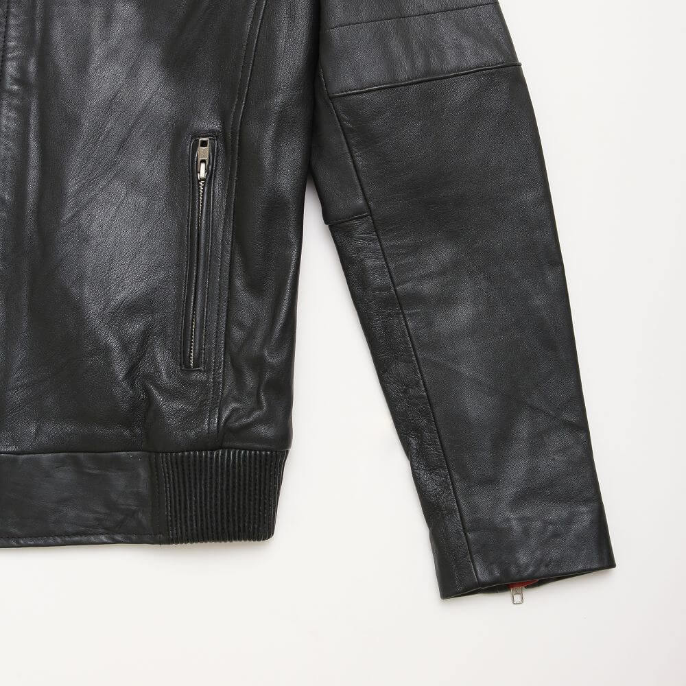 Side Pocket with Zipper Detail of Black Leather Racer Jacket with Contrast Stripe Detail