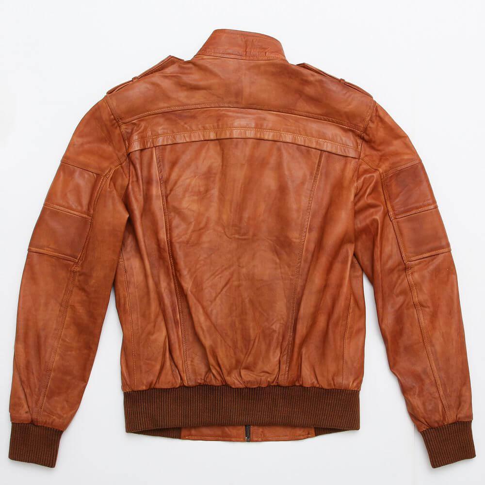 Back of Tan Sheepskin Leather Bomber Jacket