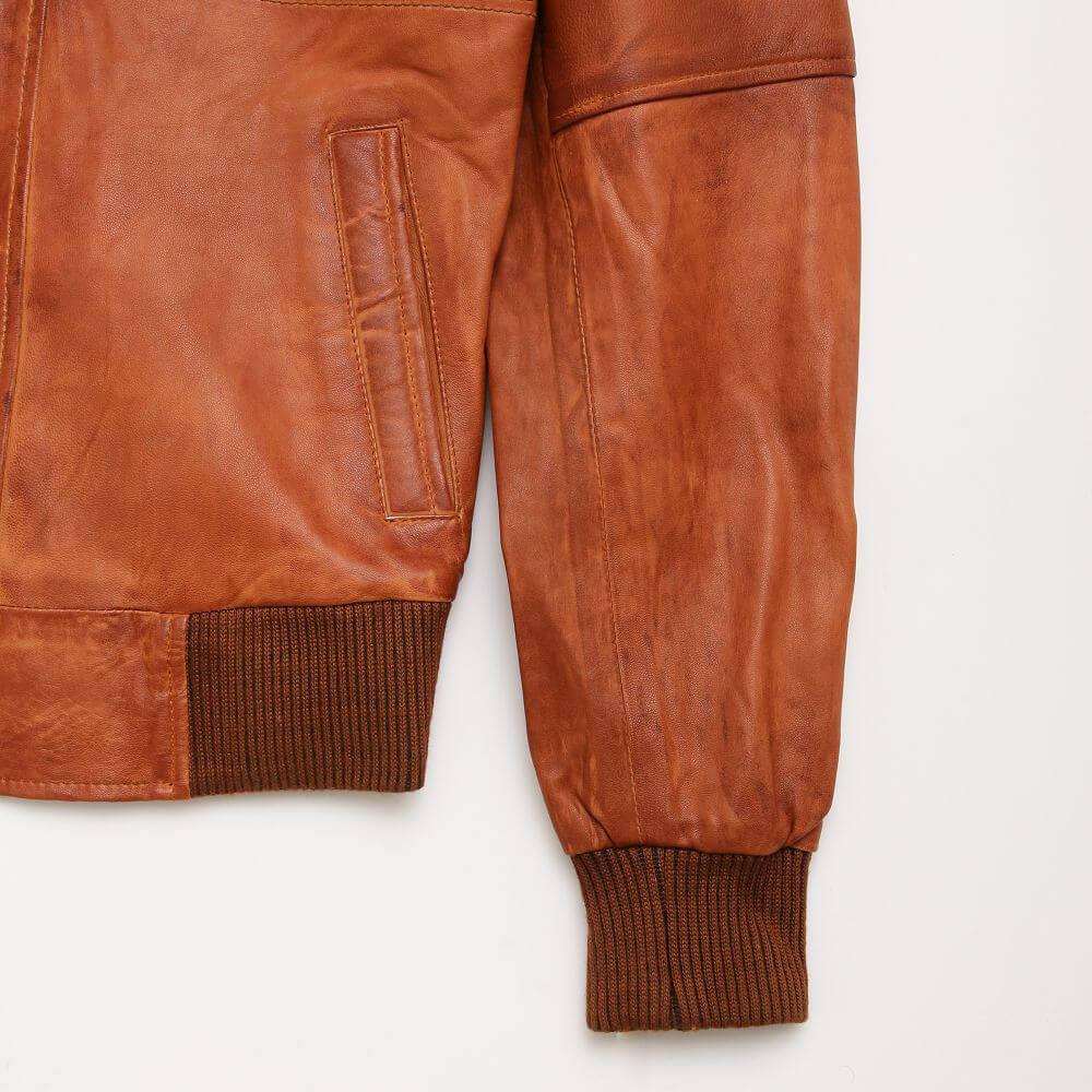 Cuff Detail of Tan Sheepskin Leather Bomber Jacket