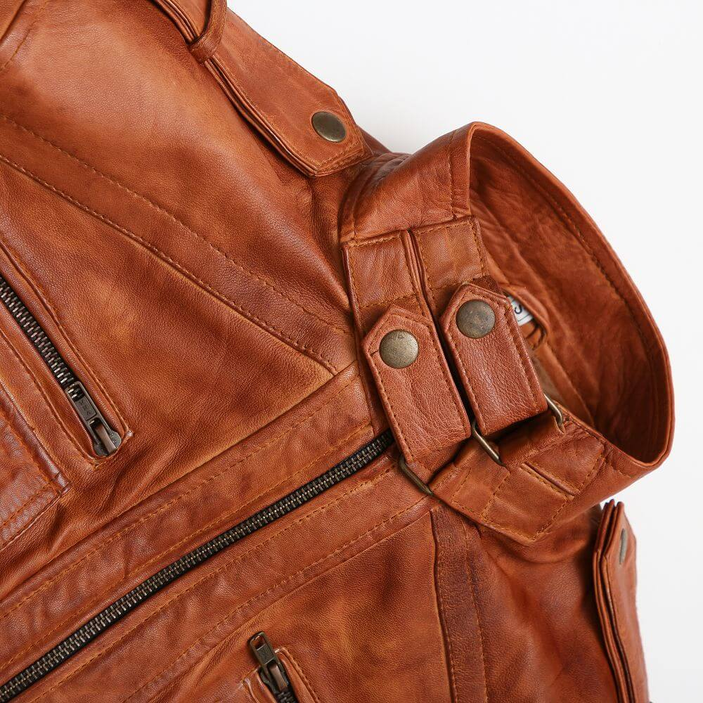 Double Button Collar Detail of Tan Sheepskin Leather Bomber Jacket