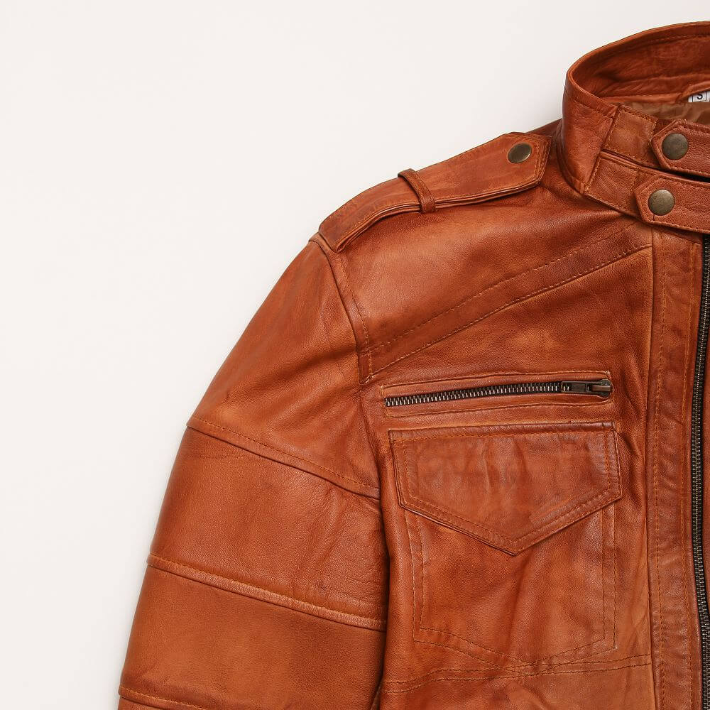 Shoulder and Chest Zipper Detail of Tan Sheepskin Leather Bomber Jacket