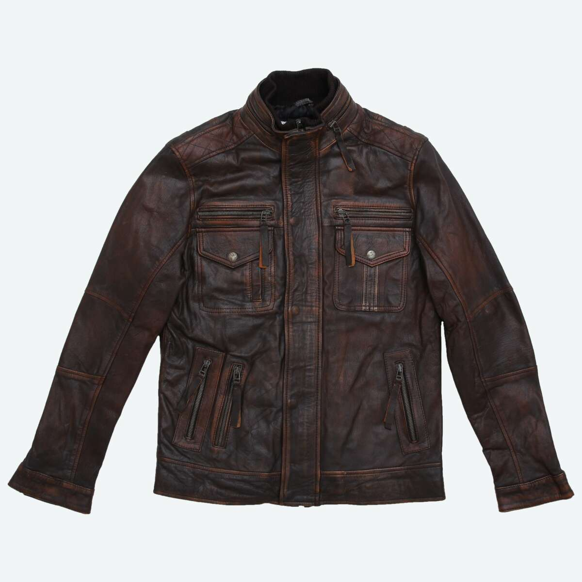 Field Jacket with Double Collar - Brown