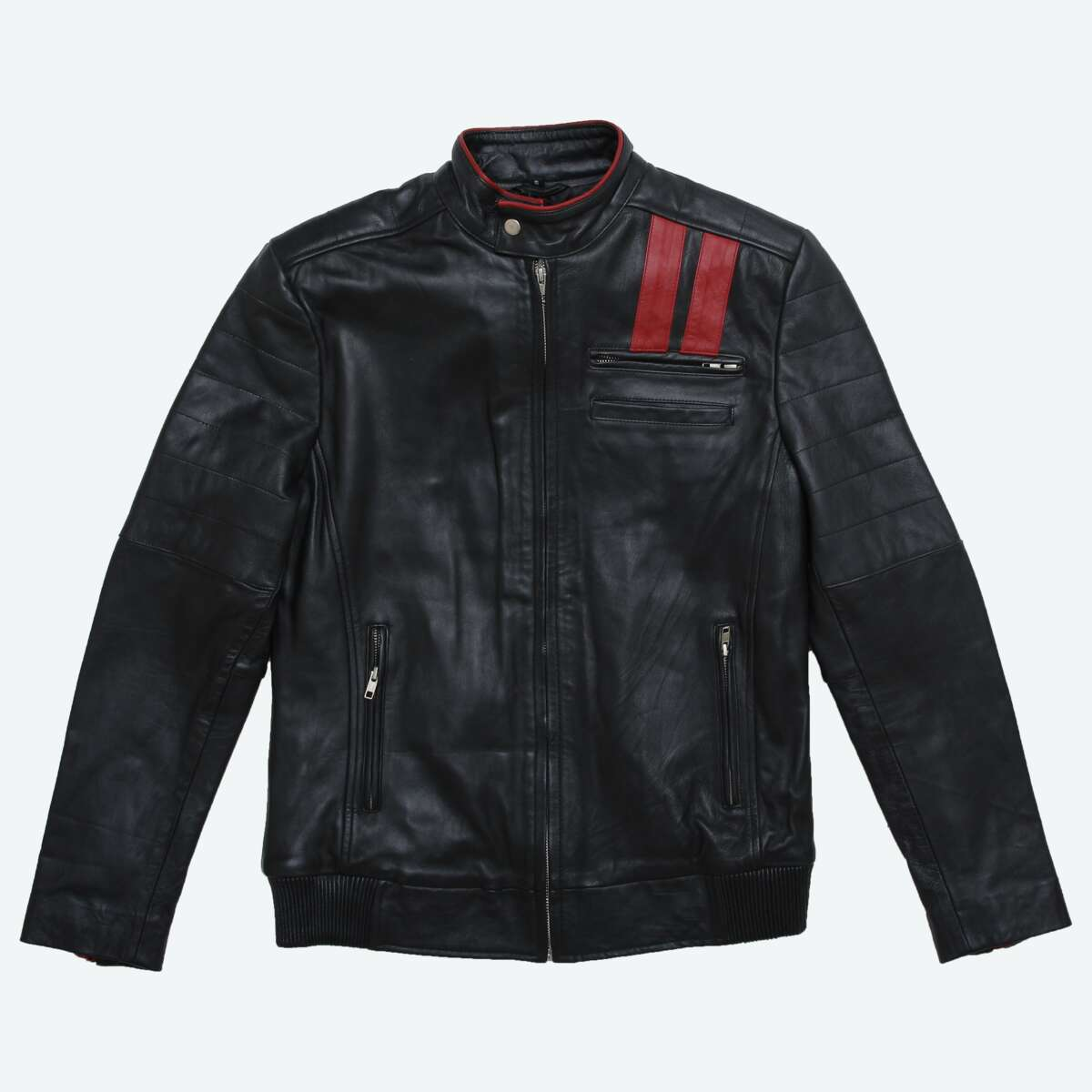 Leather Racer Jacket with Contrast Stripe Detail