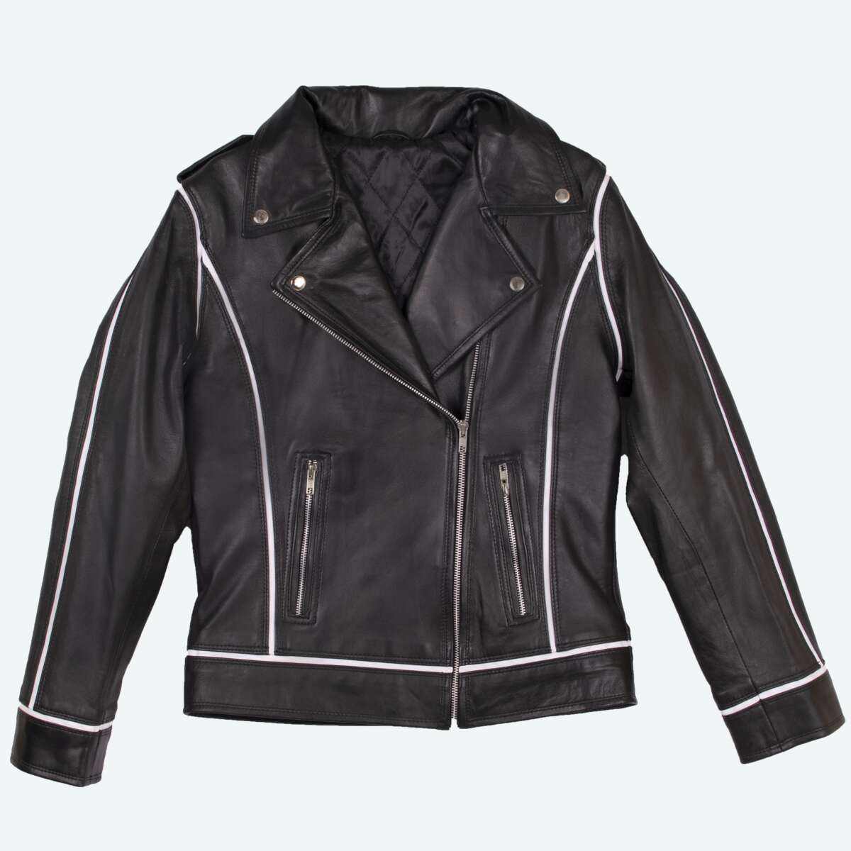 Leather Biker Jacket with White Trim