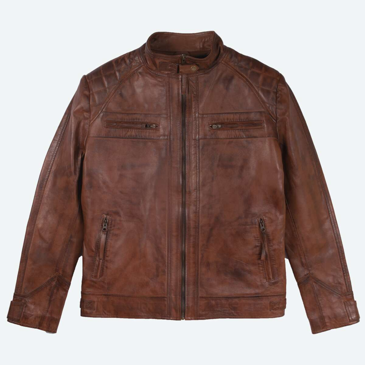 Quilted Leather Racer Jacket