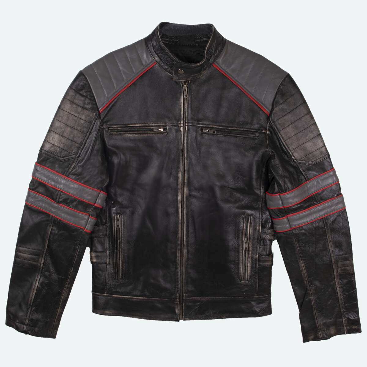 Tri-Color Leather Cafe Racer Jacket