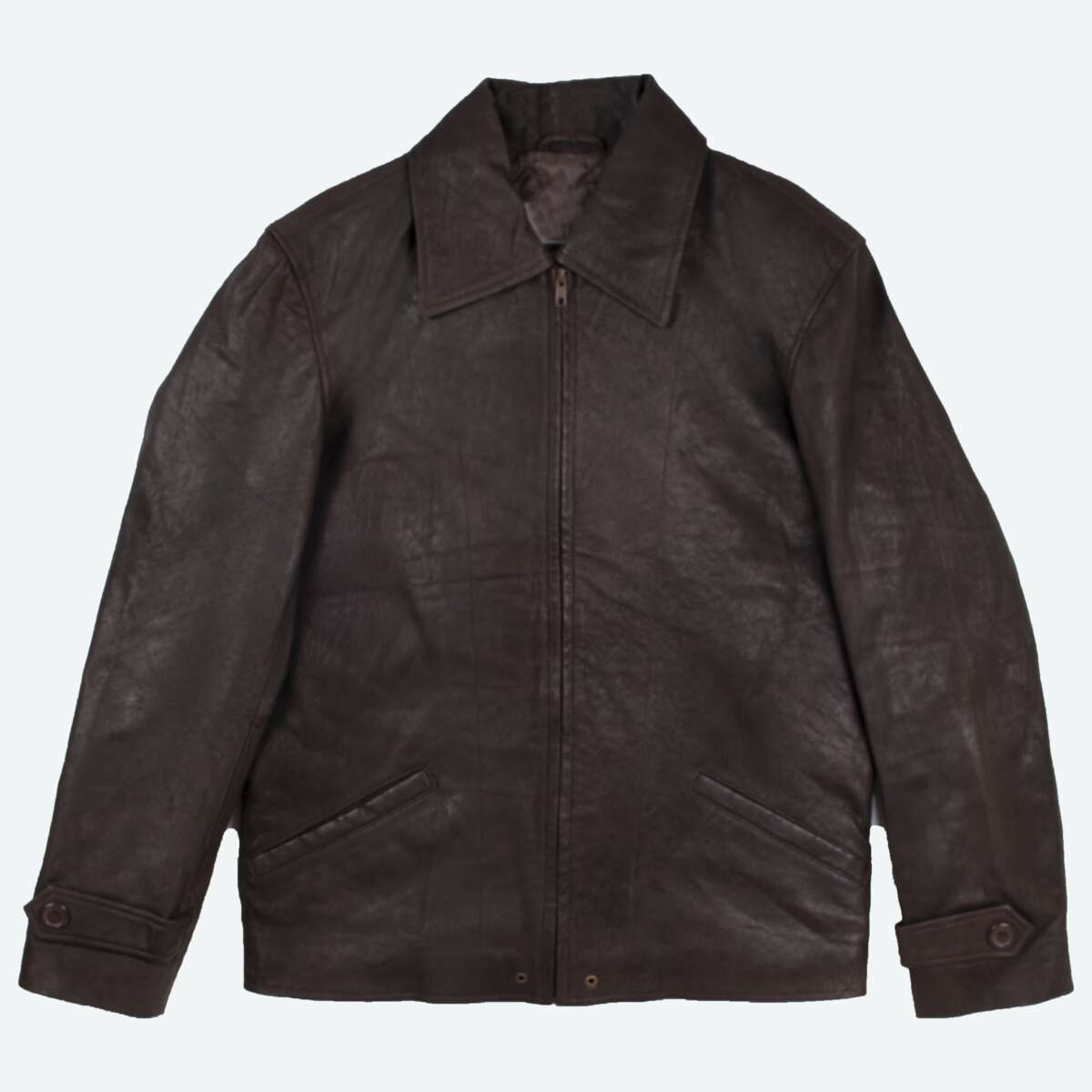 Lightweight Leather Jacket with Shirt Collar