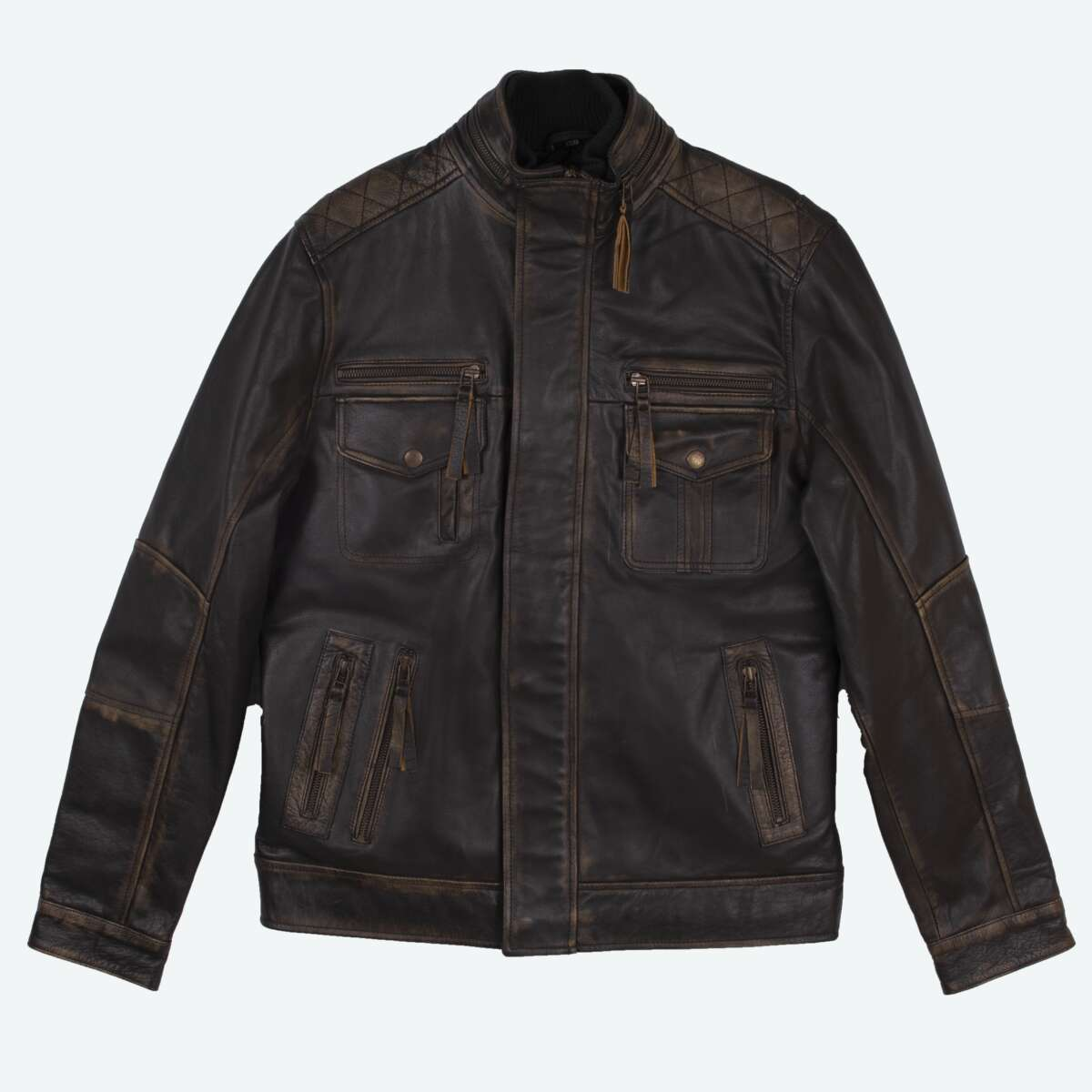 Slim Fit Leather Jacket with High Collar