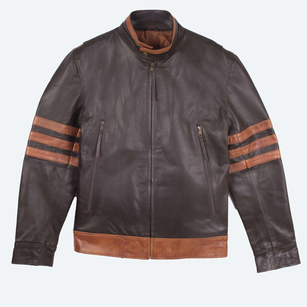 Two-Tone Cafe Racer Jacket With Applique Detail