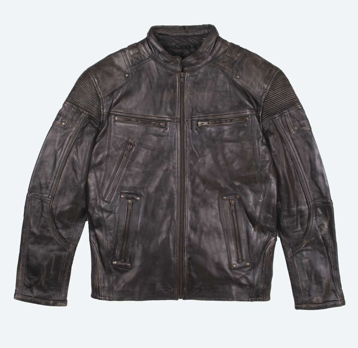 Distressed Leather Racer Jacket