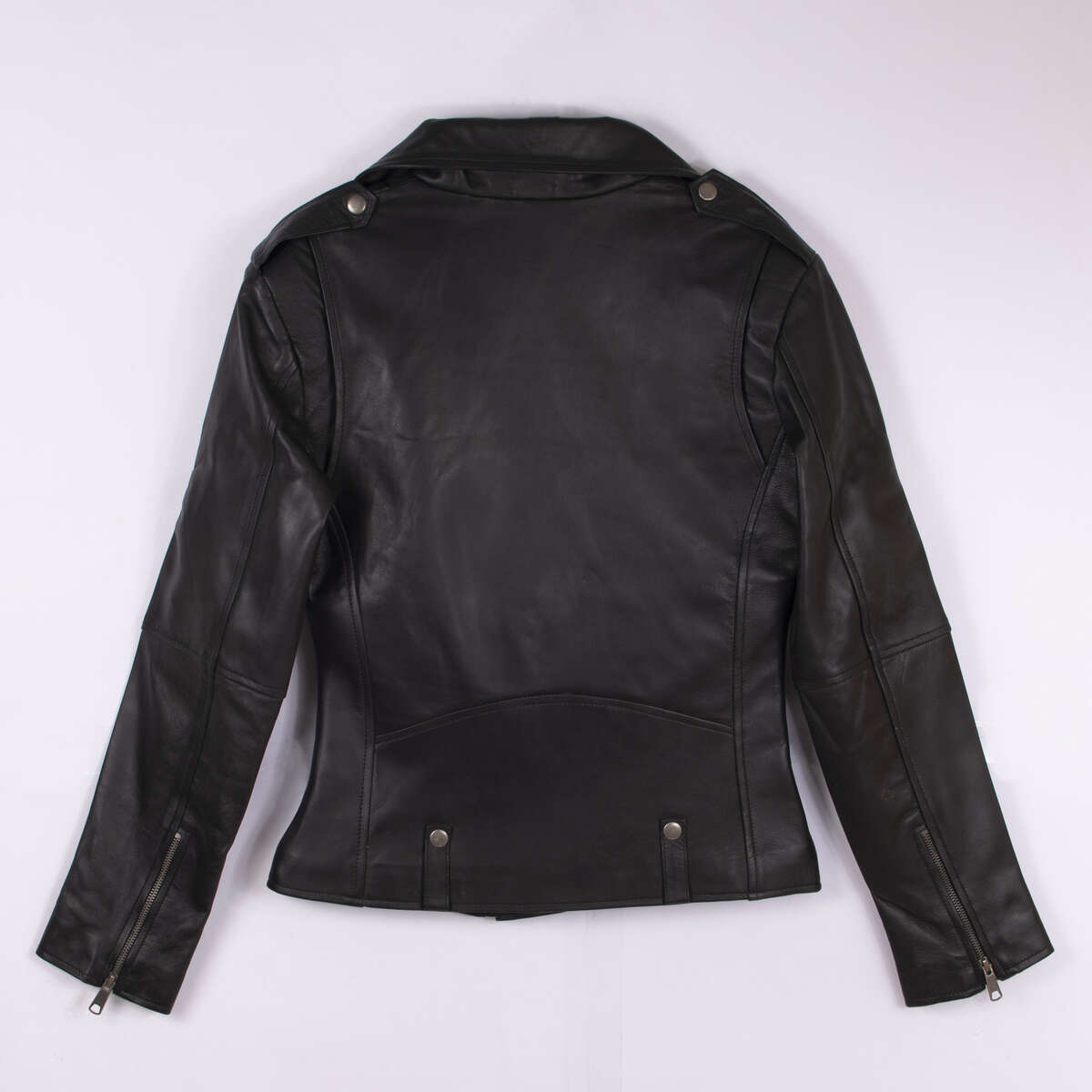 Back of Black Classic Leather Biker Jacket
