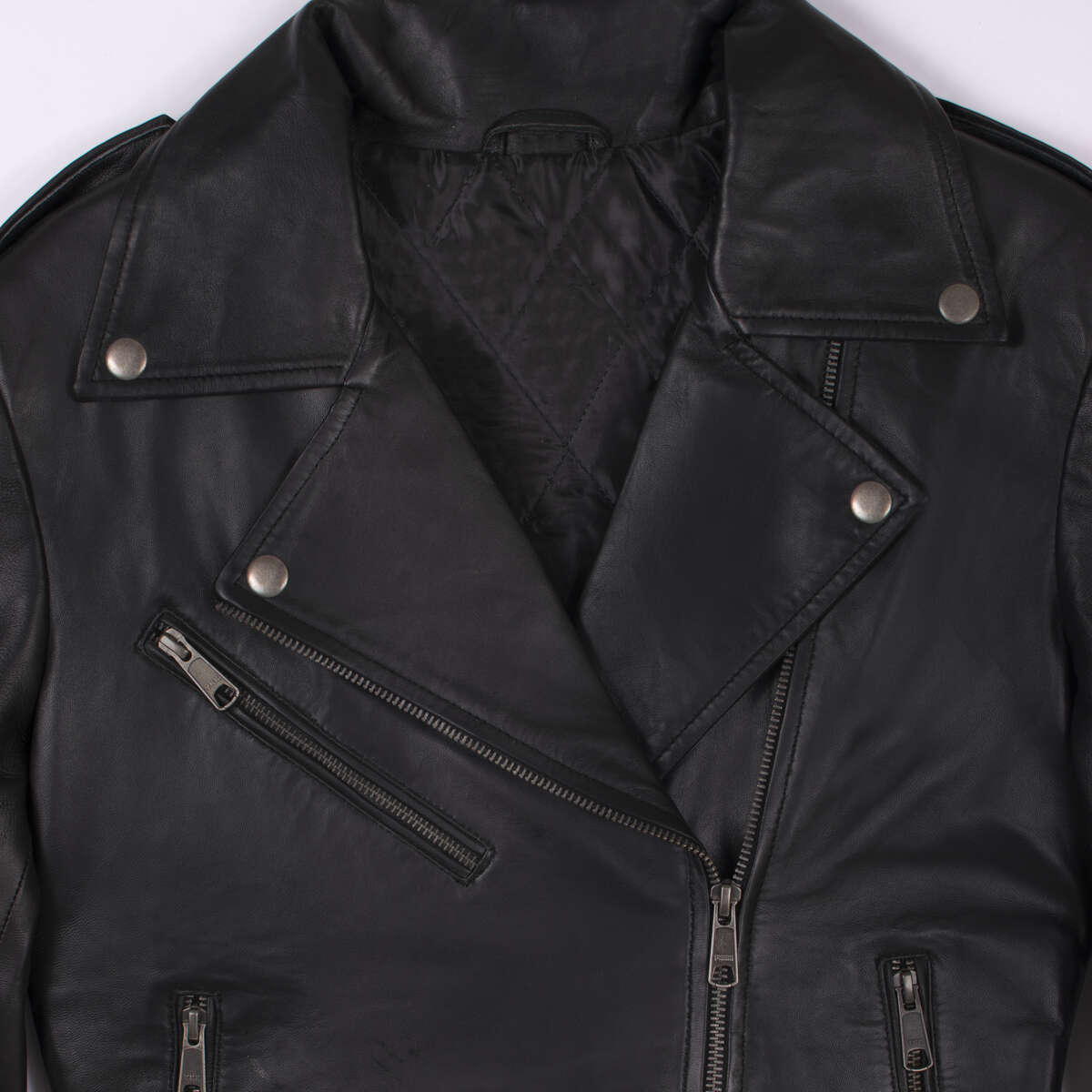Collar and Front Zipper Detail of Black Classic Leather Biker Jacket