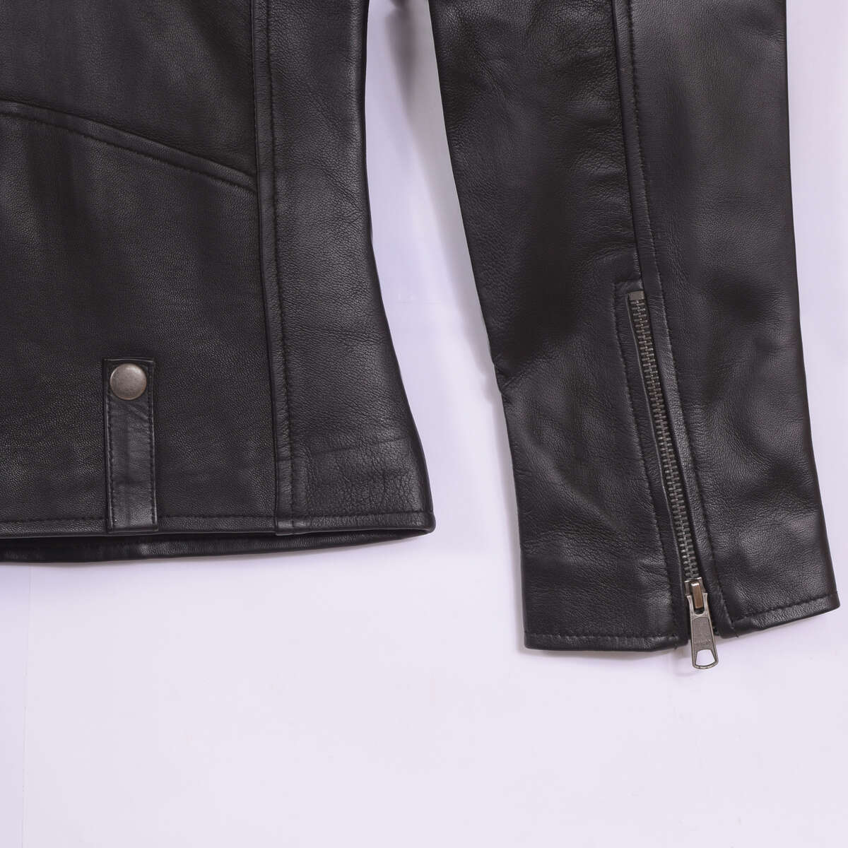 Cuff with Zipper Detail of Black Classic Leather Biker Jacket