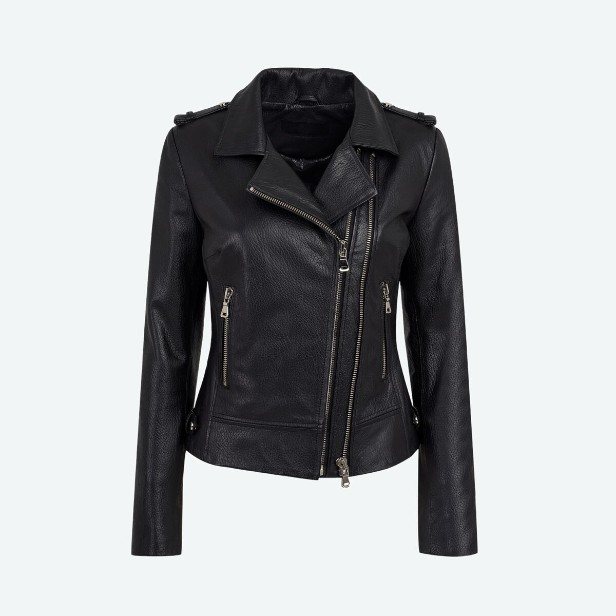 Women's Leather Biker Jacket - Black