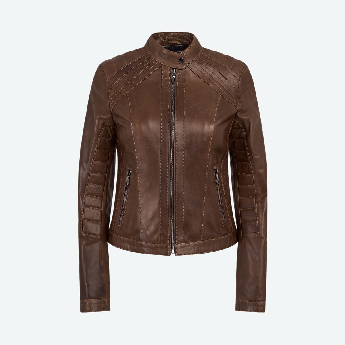 Ribbed Racer Leather Jacket