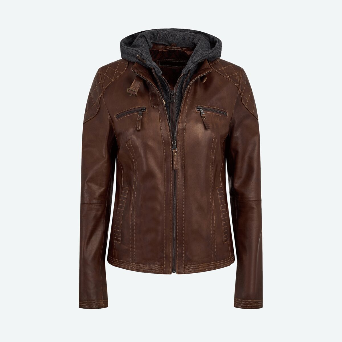Cotton Hood Leather Jacket