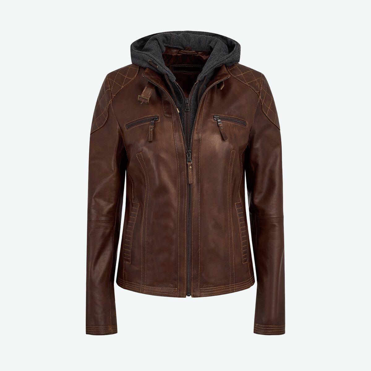 Women's Leather Jacket with Hood - Dark Brown