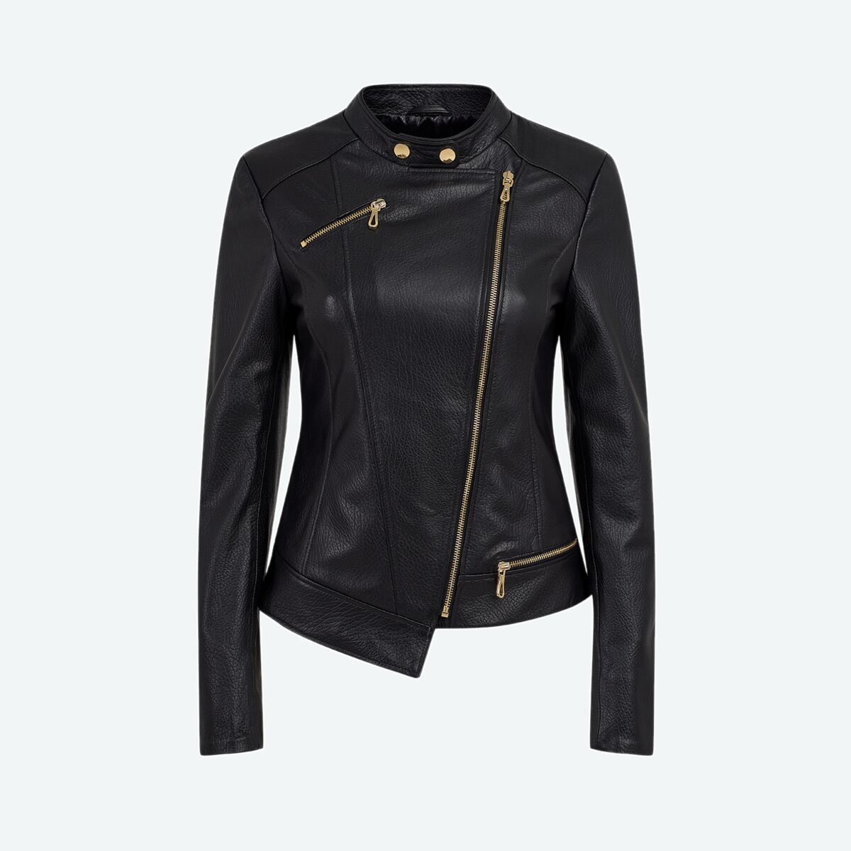 Women's Asymmetric Leather Jacket - Black