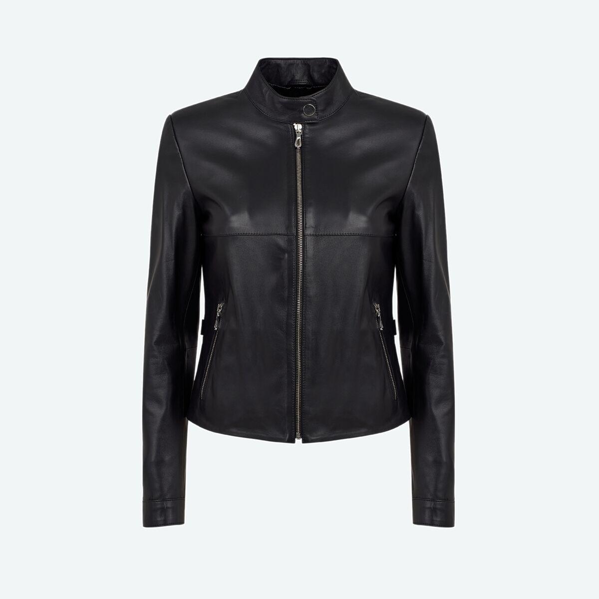 Women's Petite Leather Jacket - Black