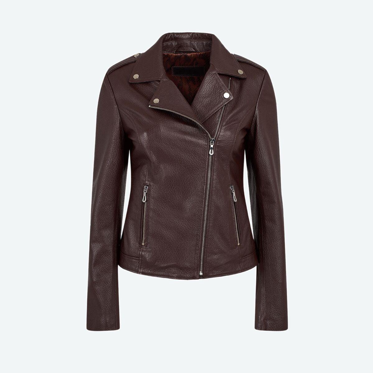 Detailed Collar Biker Leather Jacket