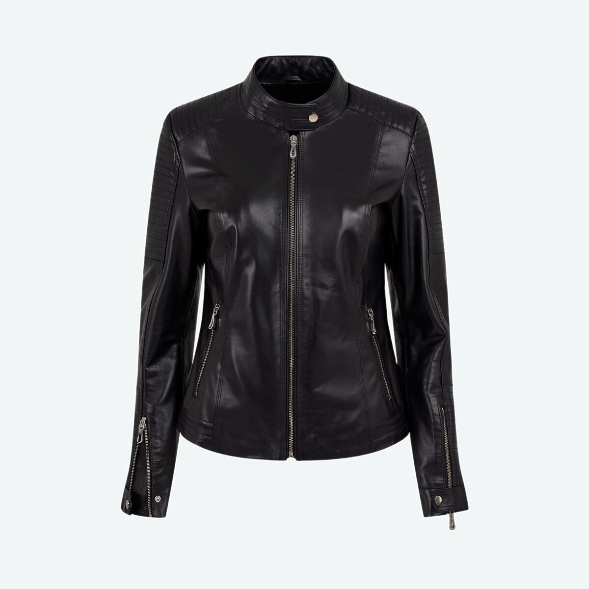 Women's Quilted Leather Jacket - Black