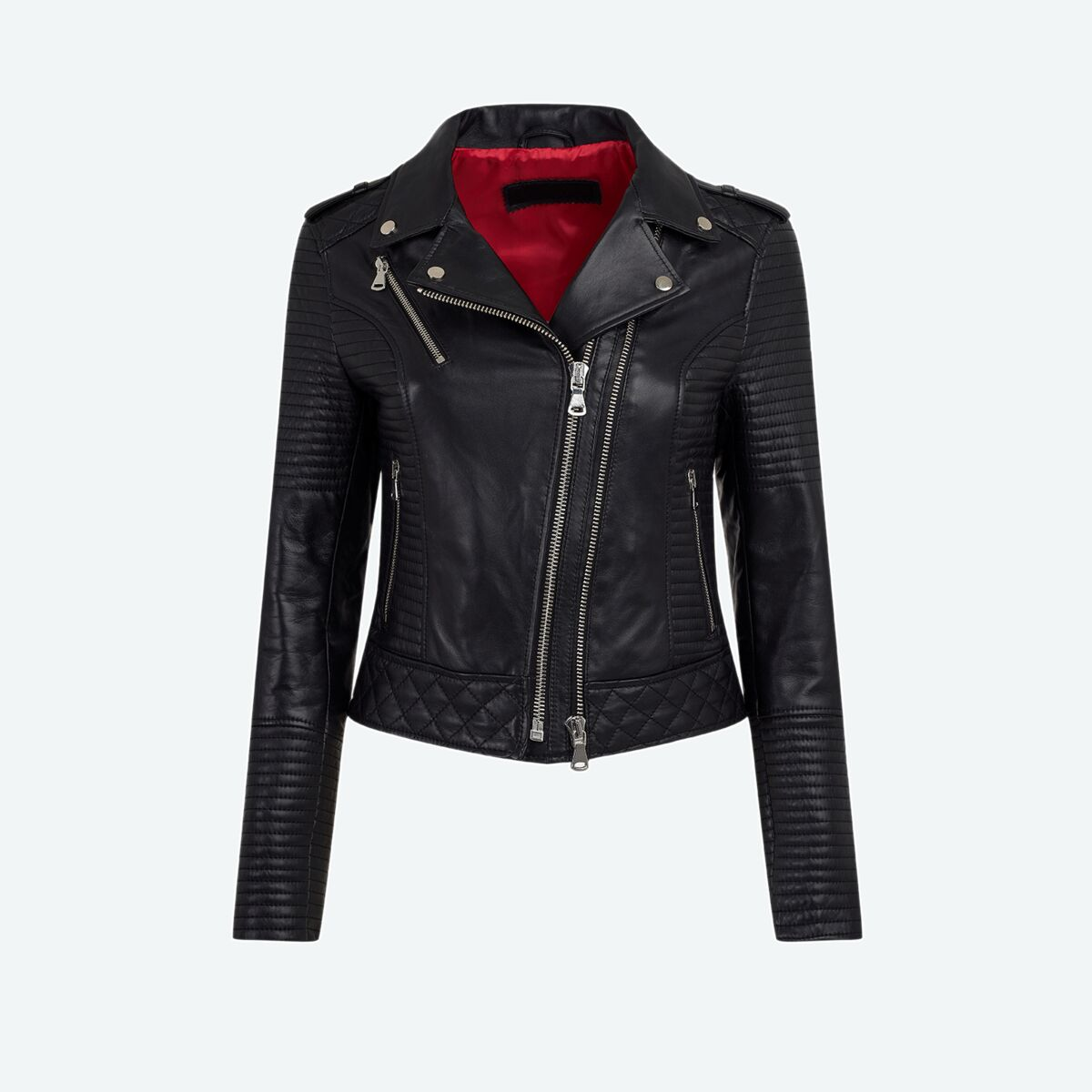 Ribbed Moto Leather Jacket
