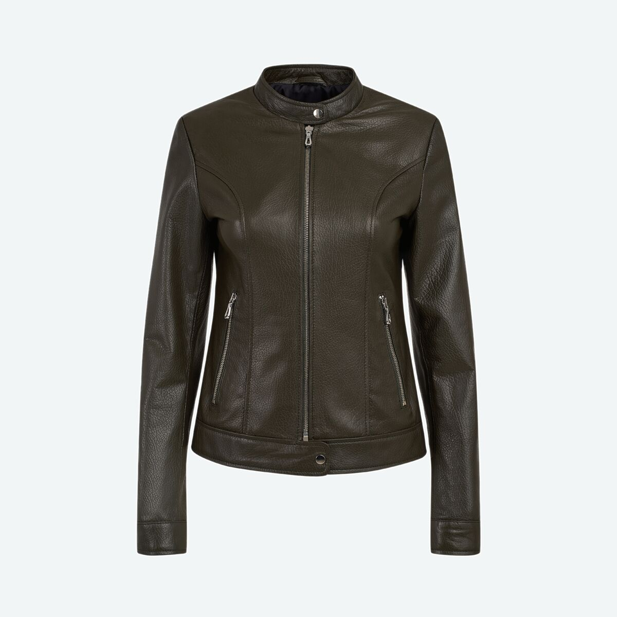 Classic High-Collared Leather Jacket