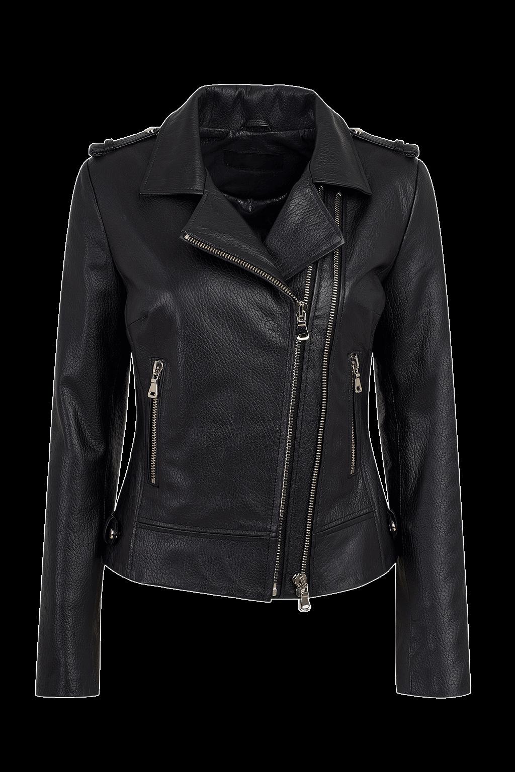 Women's Leather Biker Jacket - Black