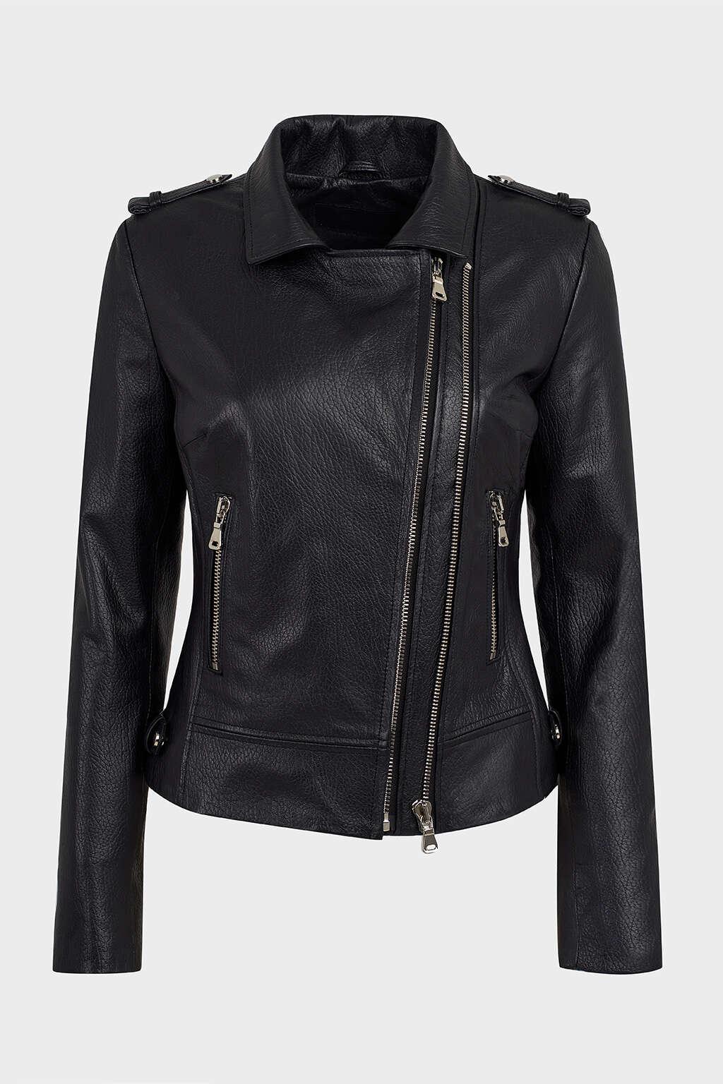 Front of Black Collared Biker Leather Jacket